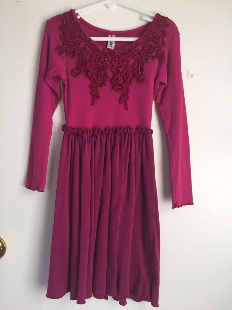 7f7dfcfa1651 MIGNONE Nordstroms Girls Fushia Holiday Knit Lace Dress Sz 5 6 Made In USA  #fashion #clothing #shoes #accessories #kidsclothingshoesaccs ...