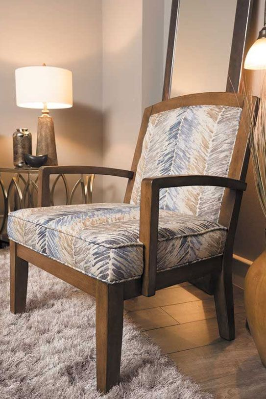 The Hillsway Paint Stroke Accent Chair From Ashley Furniture Is Covered In An Accent Fabric In Cool Colors Of Blues Greys A Accent Chairs Chair House Interior