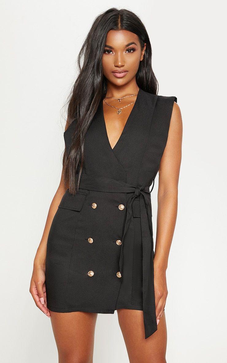 Black Sleeveless Gold Button Detail Blazer Dress Blazer Dress Blazer Dress Outfits Fashion [ 1180 x 740 Pixel ]