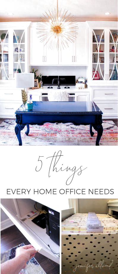 Work Smart in your #homeoffice #workfromhome with 5 Things Every Home Office Needs by Jennifer Allwood | Home Office Ideas for Women | Home Office Decor | Office Storage Solutions | Home Office Remodel | Office Redesign | Feminine Home Office Organization #girlboss #organization #homeoffice #office #comfortableofficechairs