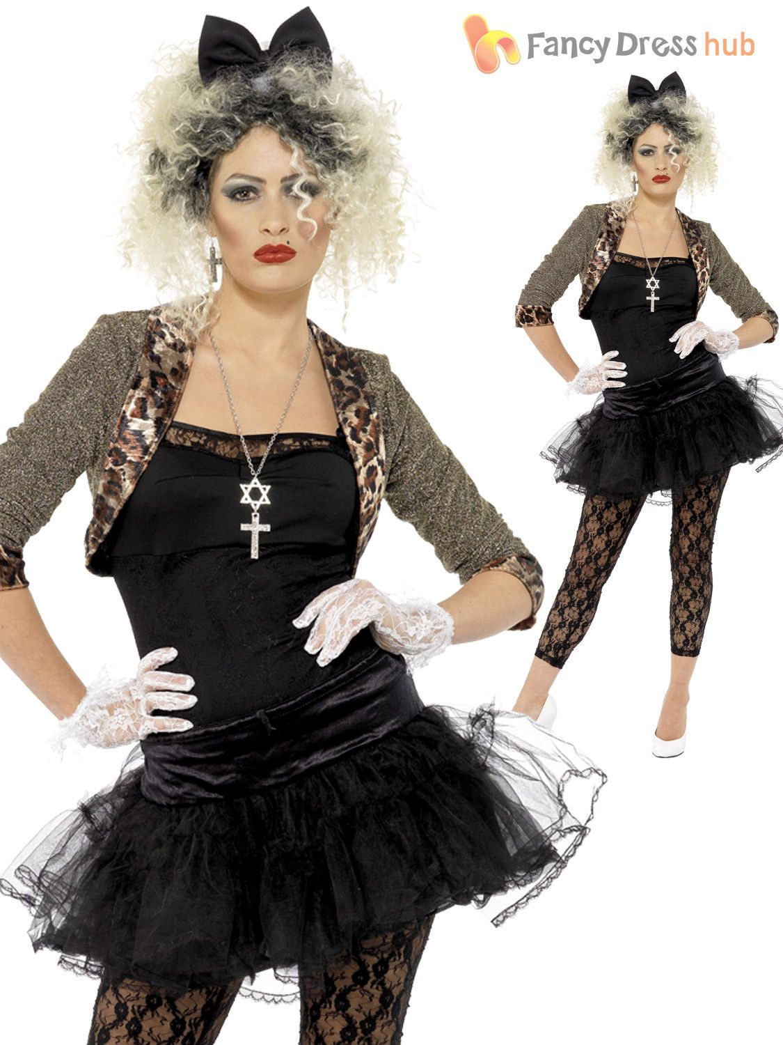 ed7cb0fce7 Ladies 80s Fancy Dress Pop Star Costume 1980s Wild Child Womens Hen ...