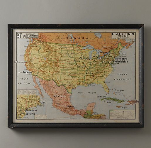 Vintage French Usa Map The Official Language Of The United