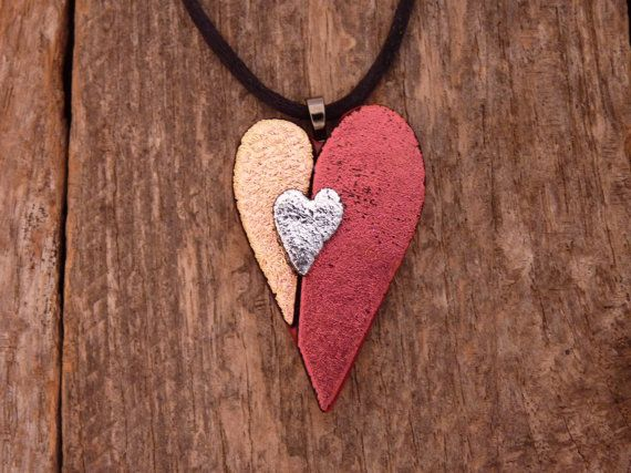 Dichroic Fused Glass Heart Necklace by PureLightStudio on Etsy, $20.00