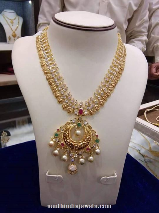 Gold Stone Long Necklace Design Necklace Collections