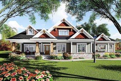 Beautiful Eye Catching Craftsman Ranch House Plan   890050AH Thumb   01 Idea