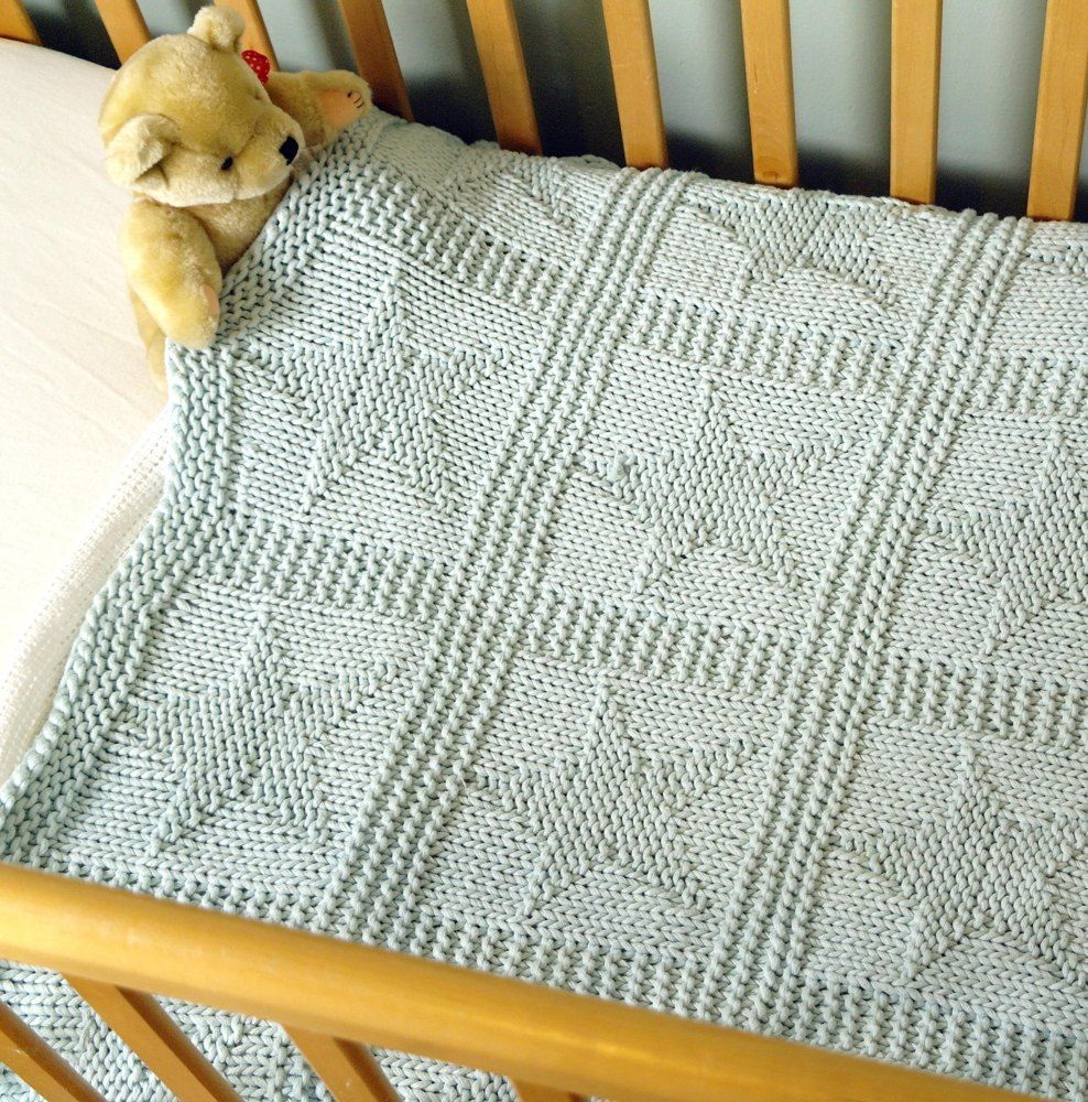 Easy chunky baby blanket with star pattern Knitting pattern by Sproglets Kits #babyblanket