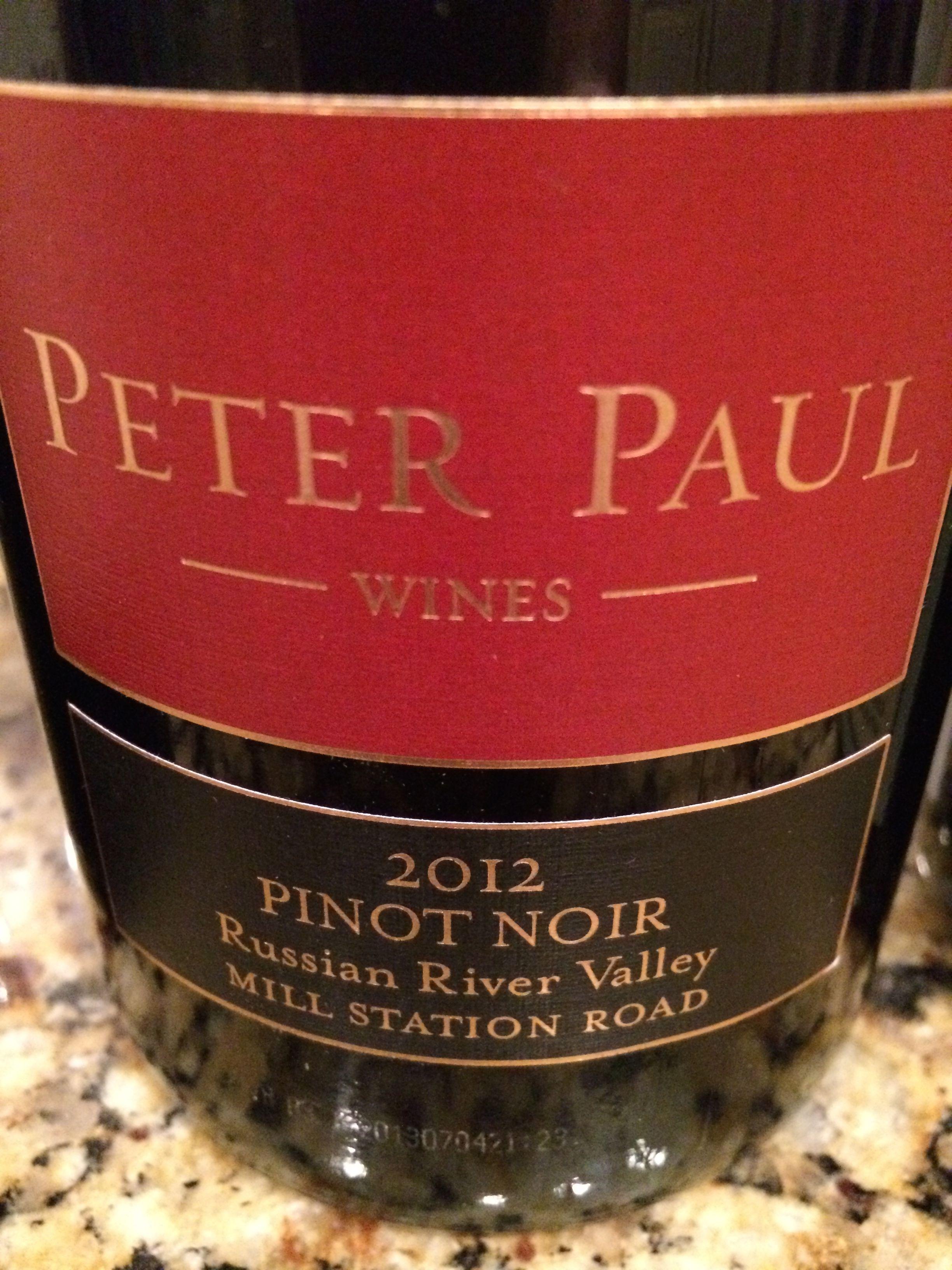 Peter Paul Russian River Valley Pinot Noir 2012 Wine Pinotnoir California Pinot Noir Wines Wine Bottle