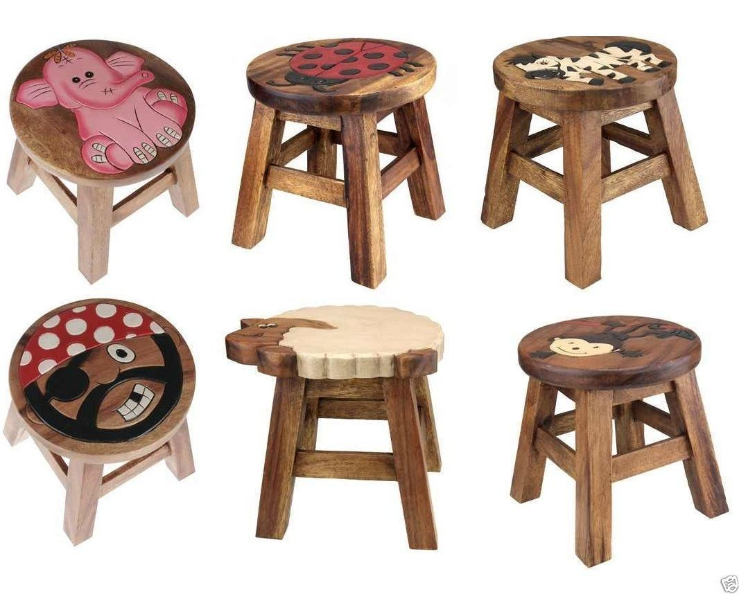 WOOD WOODEN FOOT STOOL ANIMAL DESIGN KIDS CHAIR SEAT HAND PAINTED CHILDREN  GIFT | EBay