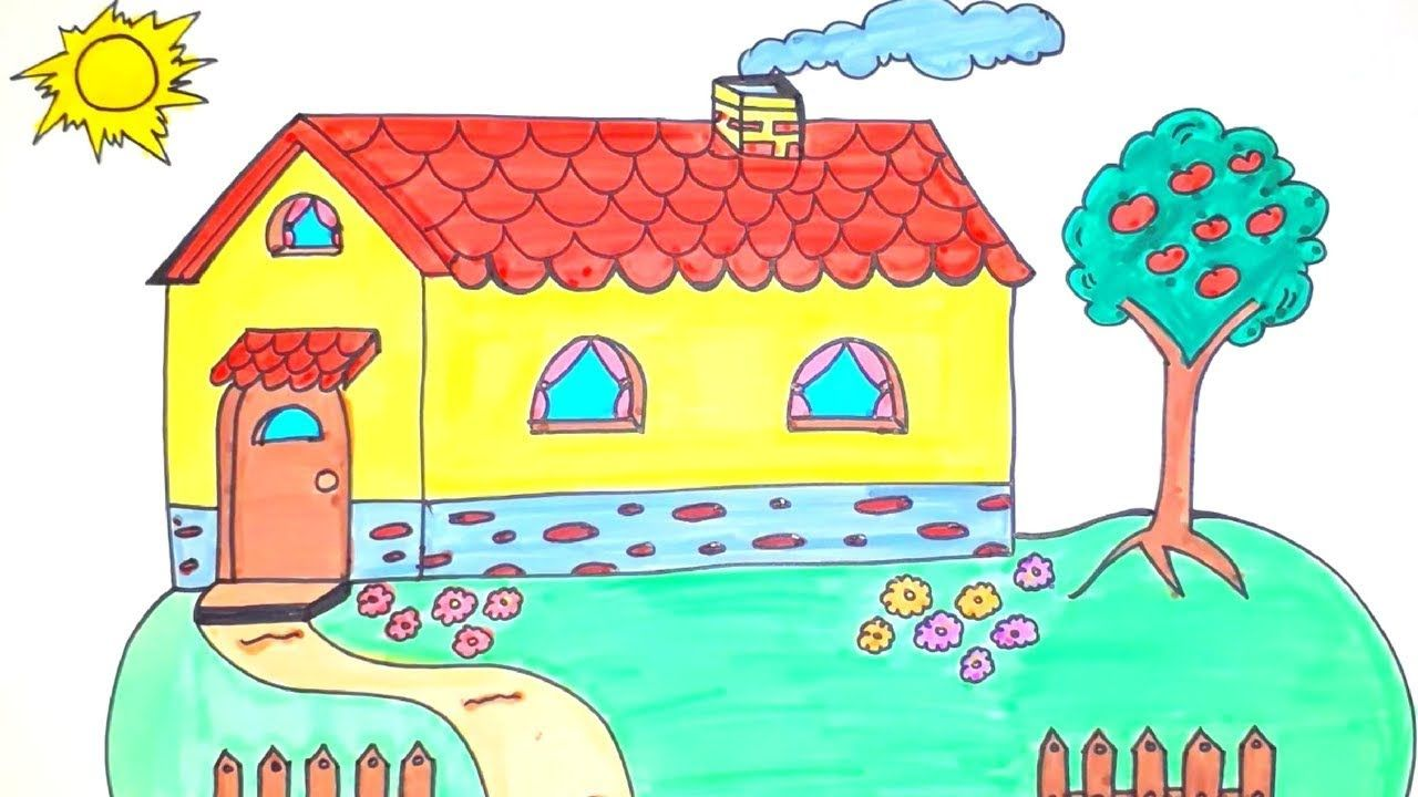 How To Draw And Color A House For Kids Easy Drawing For Kids House Drawing For Kids Drawing Techniques