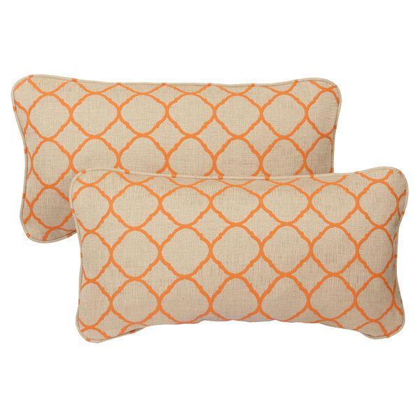 Moroccan Orange Indoor/ Outdoor Corded 12 X 24 Inch Lumbar Pillows With  Sunbrella Fabric (