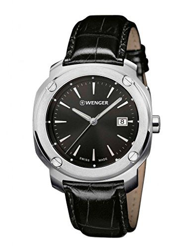 Men Watches - Wenger 011141110 Mens Edge Index Stainless Steel Case Black  Leather Strap Band Black Dial Silver Watch    Read more reviews of the  product by ... 1e3ea7c602
