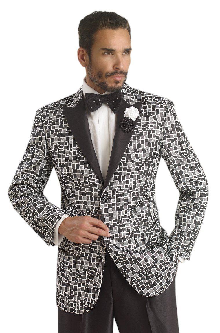 EJ Samuel Black Mosaic Mens 2 Peice Suit Modern Fit M2652 ...
