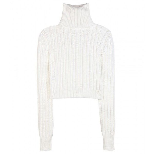 Calvin Klein Collection Cropped Turtleneck Sweater ($735) ❤ liked on Polyvore featuring tops, sweaters, shirts, jumpers, white, crop shirts, white cropped sweater, turtle neck crop top, cropped turtleneck and white turtleneck