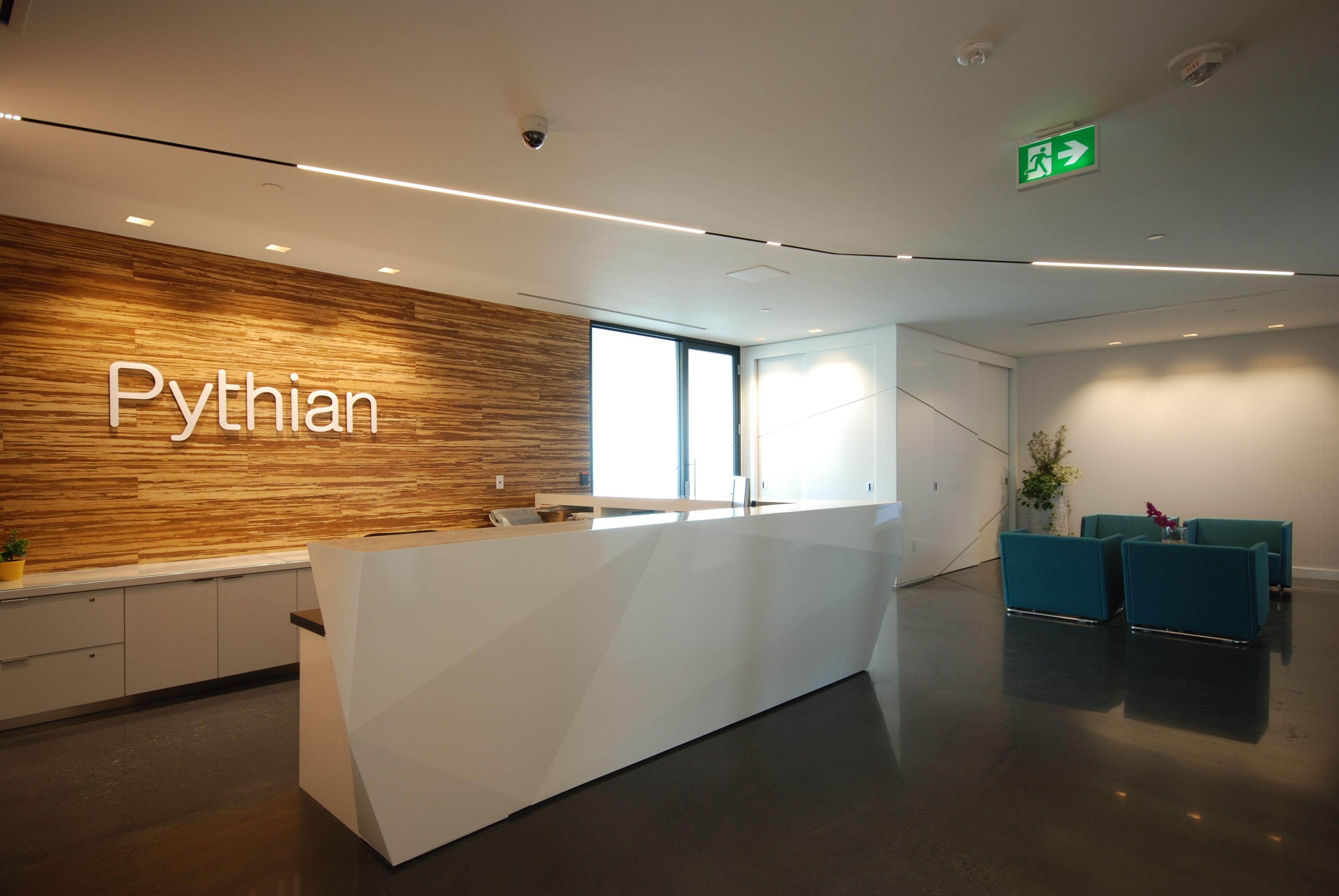 delta light linear light office reception area pythian ottawa