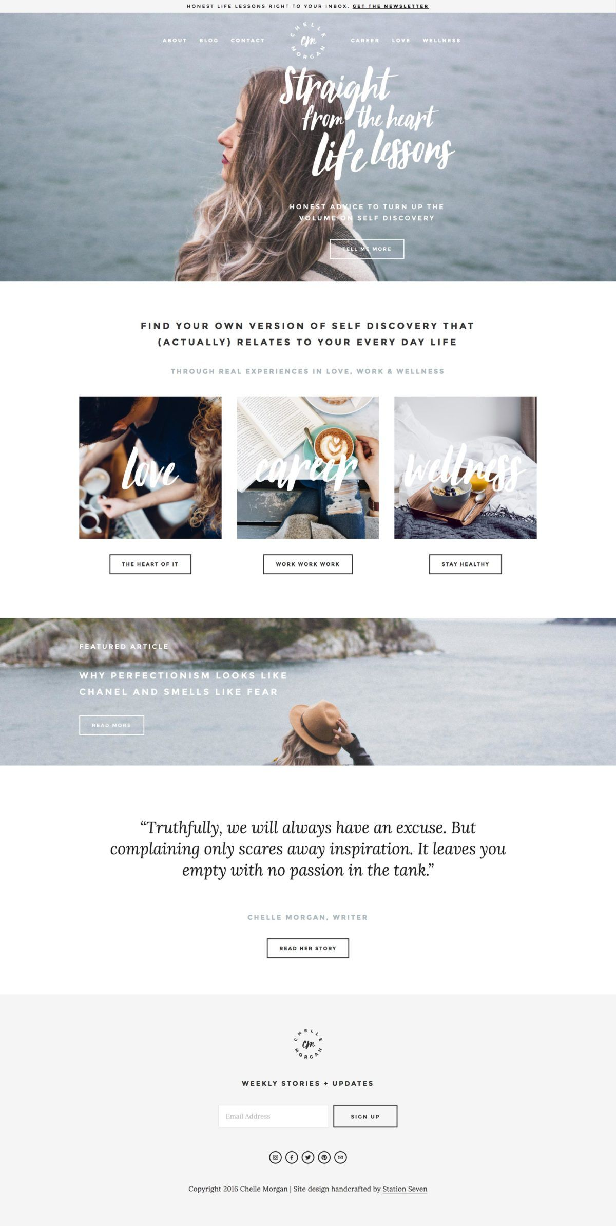 chelle morgan crafted a coast inspired website with station sevens willow squarekit on squarespace