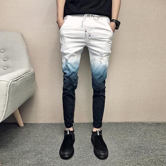 28c3f0b8b6 Gradient Skinny Ripped Men Denim Jeans - FanFreakz
