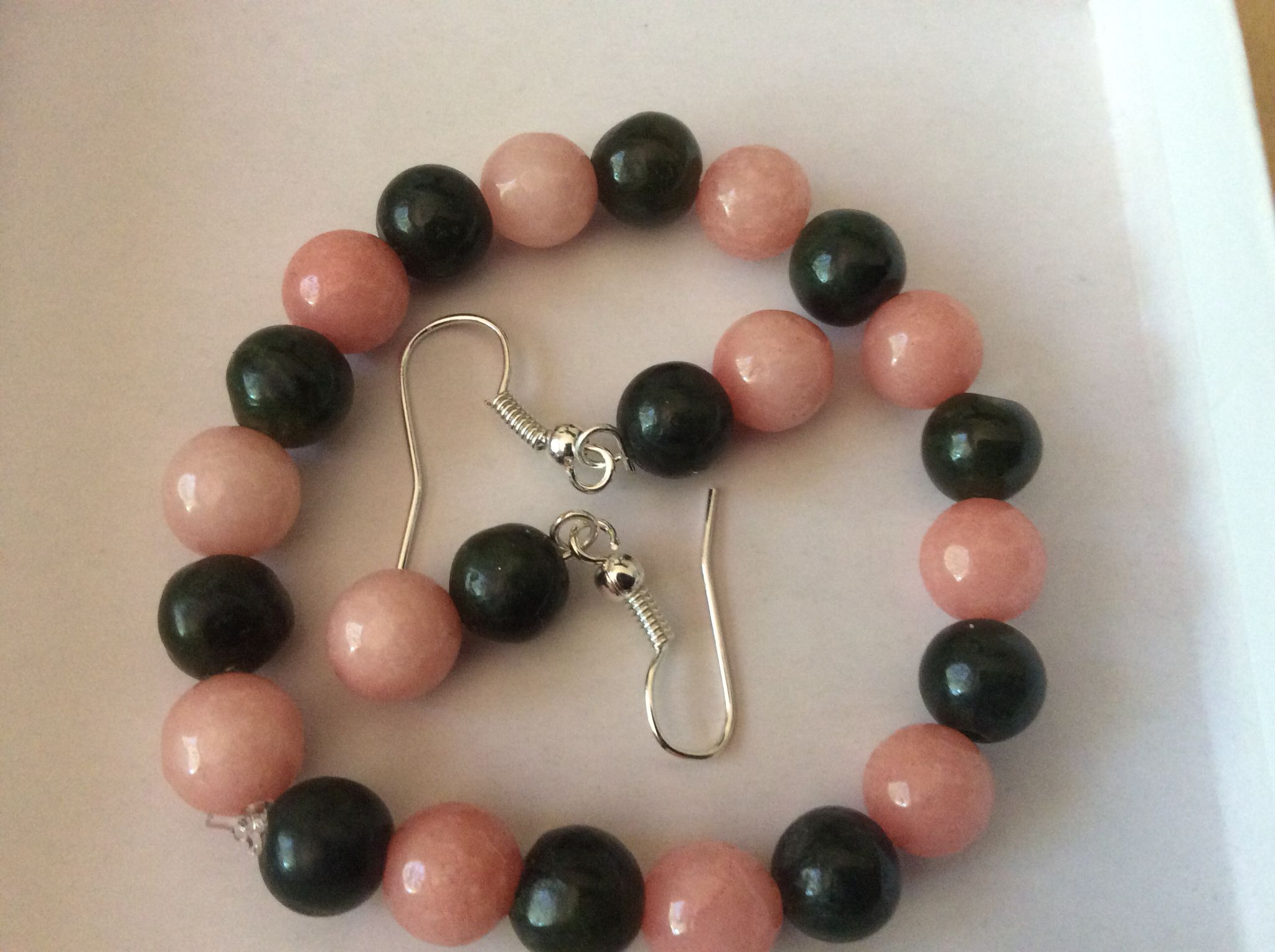 Pink morganite and jade earrings , bracelet made for a toddler