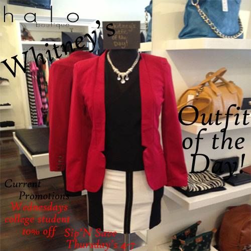 Whitney's Outfit of the Day! Shop Halo Boutique and have Whitney help you put together an outfit, for your next big interview or night on the town.