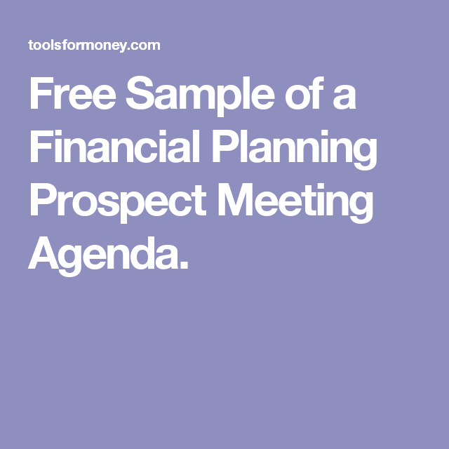 Free Sample Of A Financial Planning Prospect Meeting Agenda