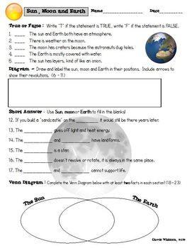Space Sun Moon Earth Properties Assessment Assessment Earth My Teacher