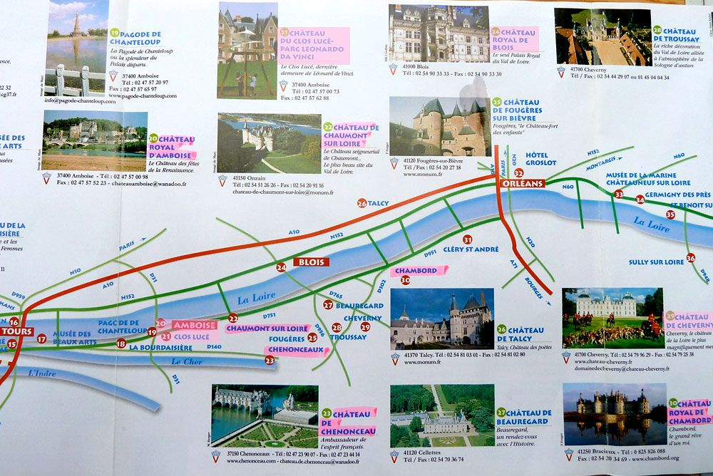 Loire Valley Cycling Map from Tours to Orleans France