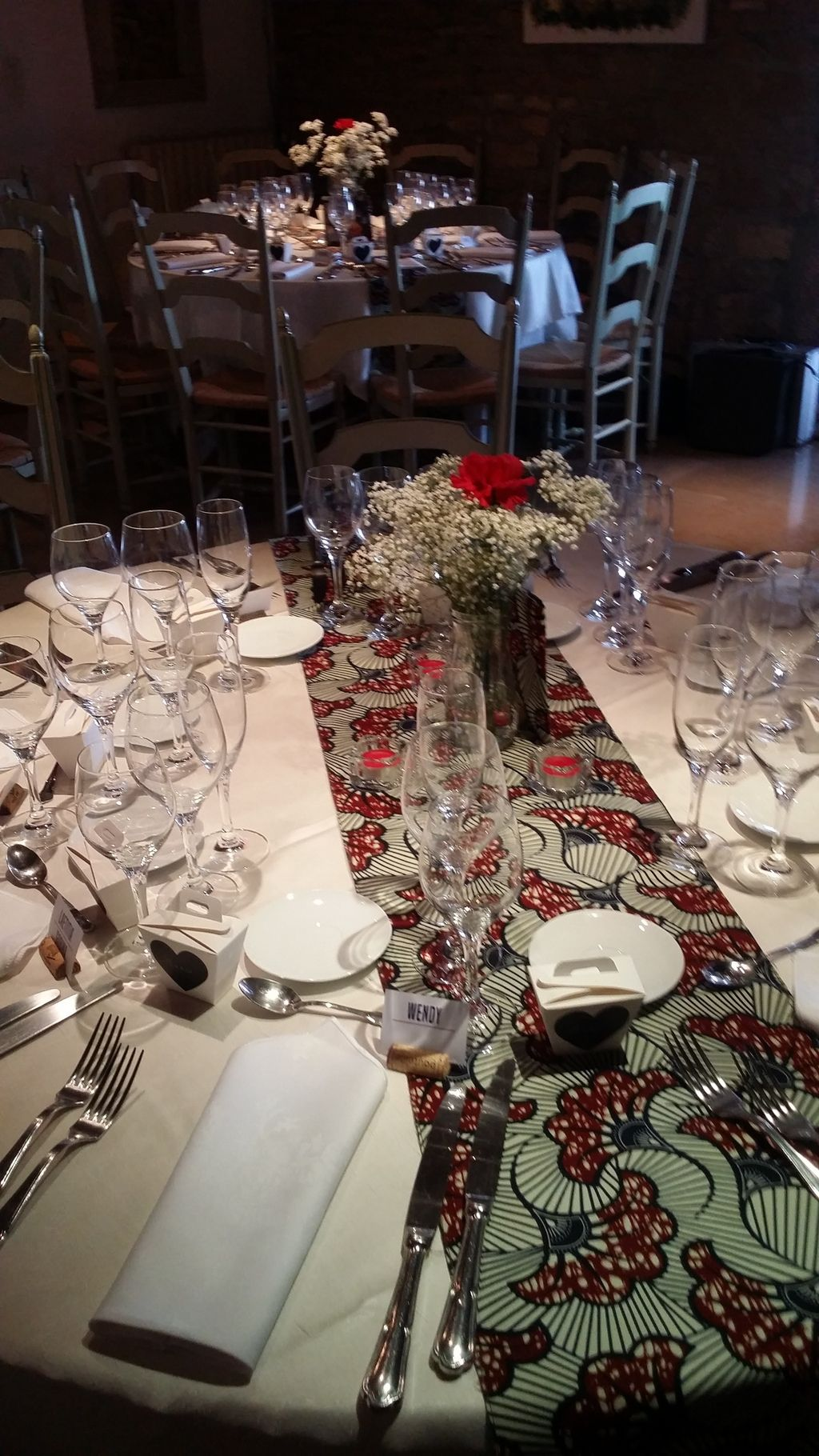 African traditional wedding decor  Table runner made from African fabrics Could do the same with