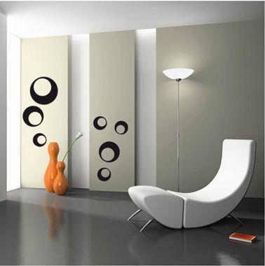 Stickers pour decoration murale dans salon design motif bulles rondes noires chez méchant vynil