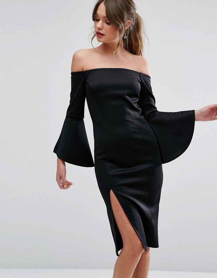 New Look Split Sleeve Bardot Bodycon Dress