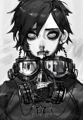 View Full Size 688x1000 325 Kb Anime Guys Shirtless Digital Art Anime Anime Gas Mask