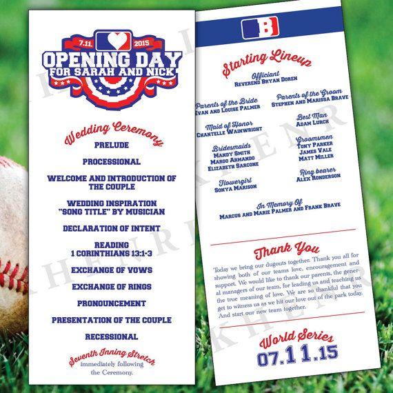 Baseball Wedding Program Digital Printable Baseball Etsy Baseball Wedding Program Wedding Programs Baseball Ticket