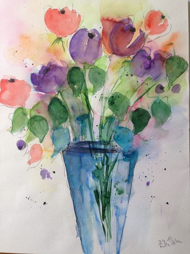 Aquarell Blumen In Der Vase 30 X 40 Cm Unikat In