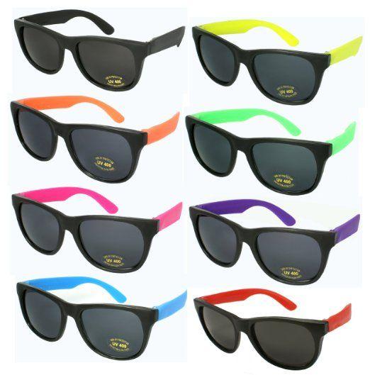 5b96734c02 Amazon.com  8 Pack 80 s Neon Wayfarer Plastic Sunglasses with 100% UV  Protection