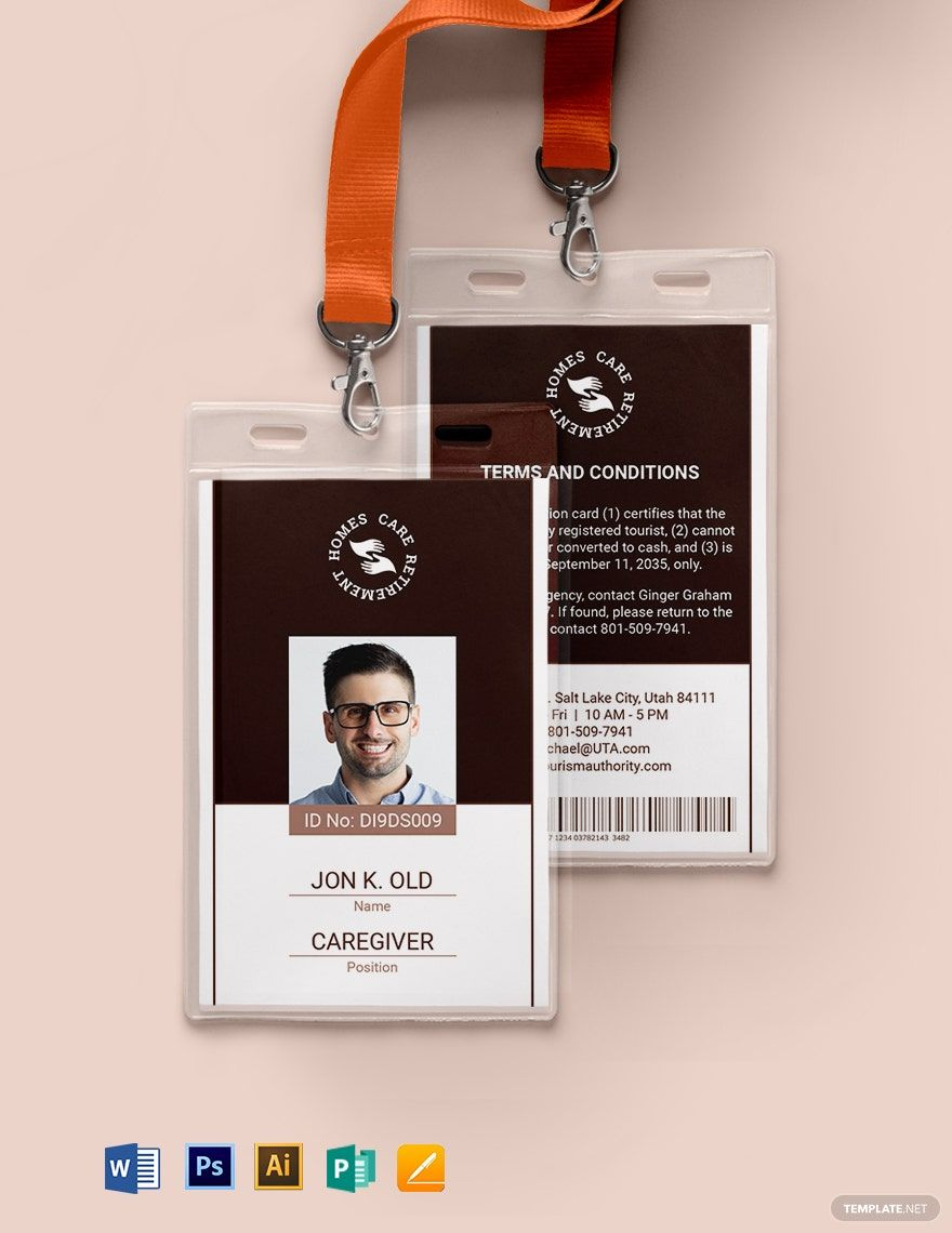 Instantly Download Retirement Homes Id Card Template Sample Example In Microsoft Word Doc Adobe Photo Id Card Template Identity Card Design Card Template