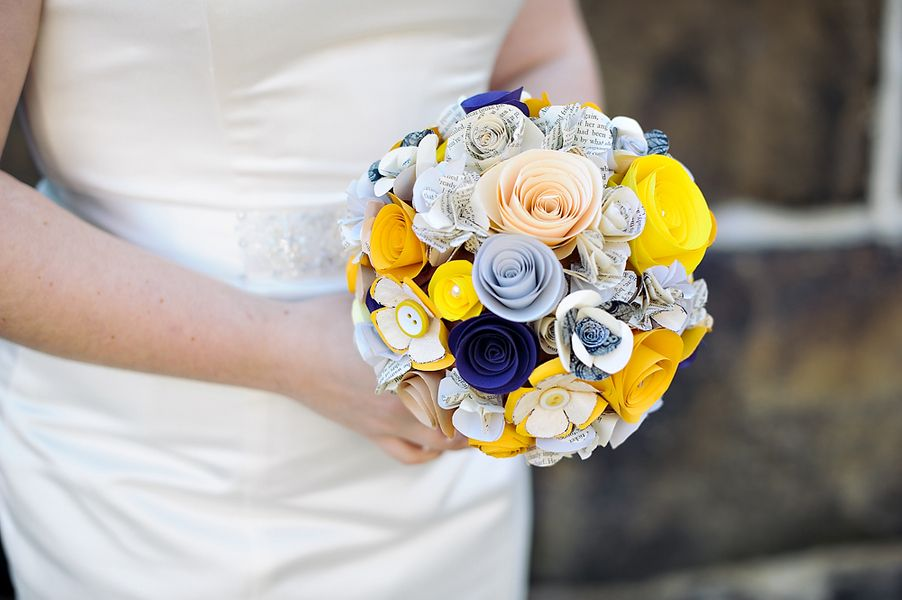 amazing blue white and yellow paper flower bouquet - thereddirtbride.com - see more of this wedding here