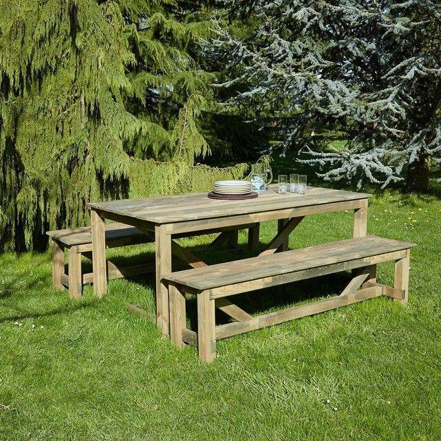 Salon De Jardin En Bois Traité 2 Bancs Et 1 Table ...