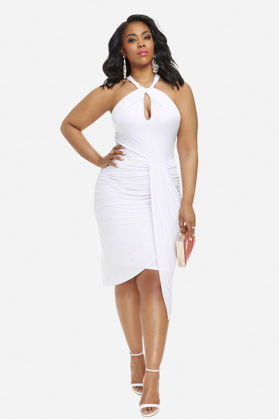 1a9de3b6a579 Plus Size Vanessa Halter Draped Dress
