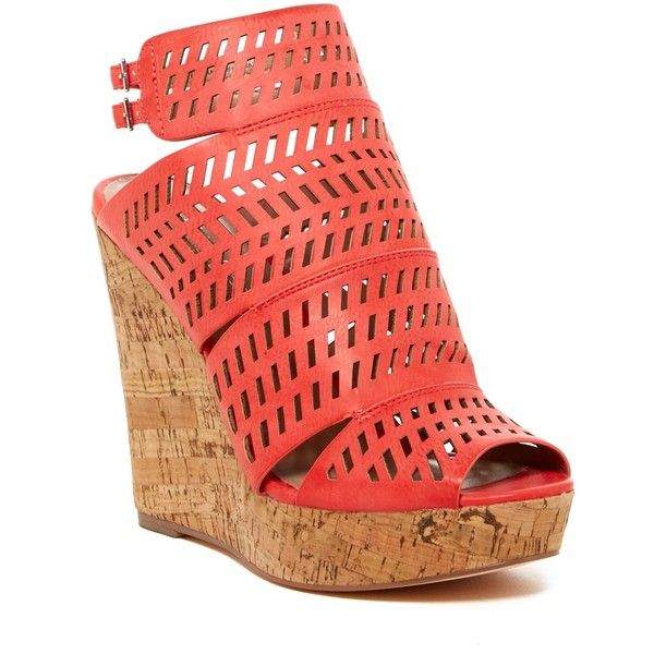 Charles By Charles David Apt Ankle Strap Wedge Platform ($70) ❤ liked on Polyvore featuring shoes, sandals, heels, coral tumb, cork platform sandals, leather platform sandals, ankle strap high heel sandals, wedges shoes and high heel platform sandals
