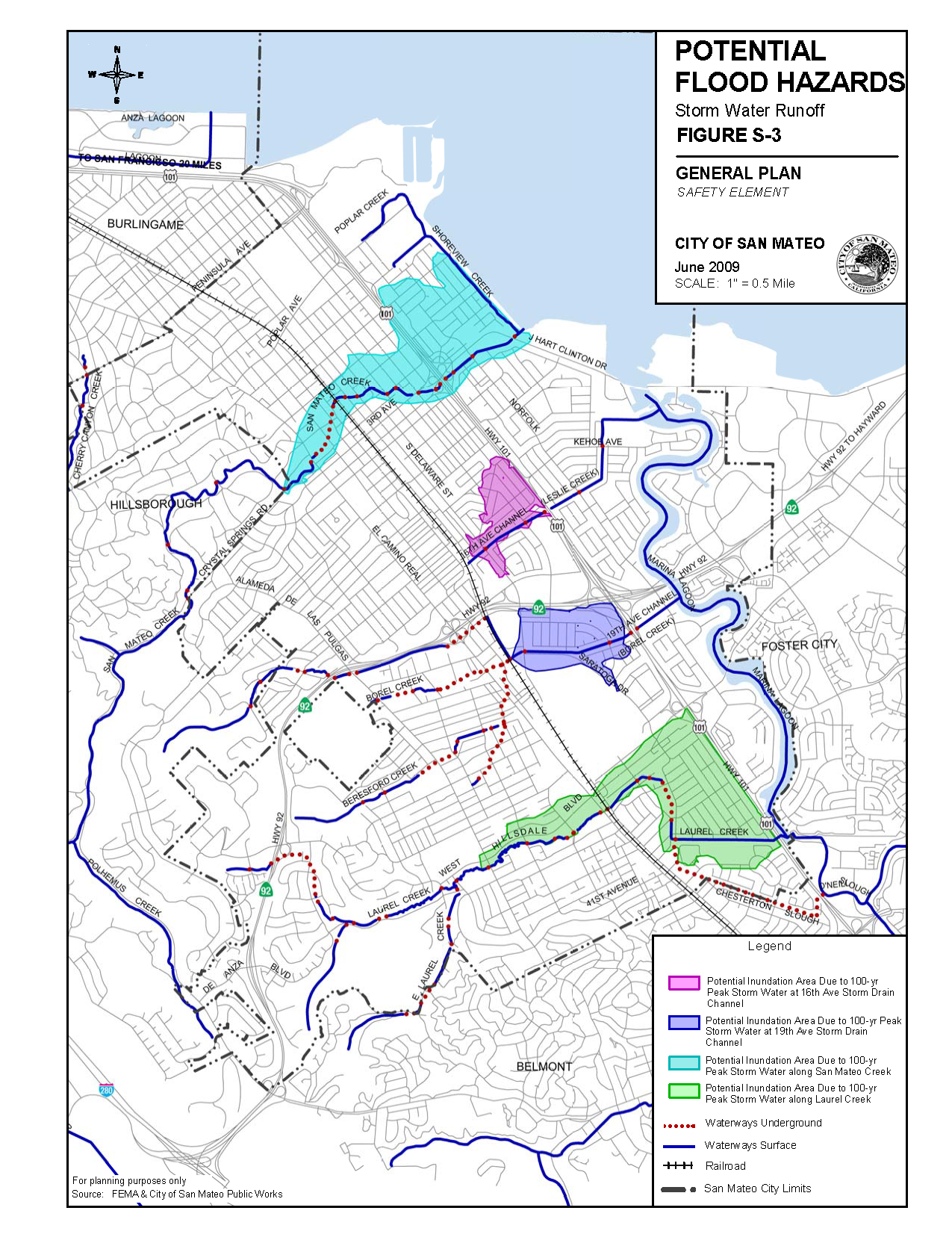 San Mateo Potential Flooding Hazards Map Because Of Its Proximity - Flood check map
