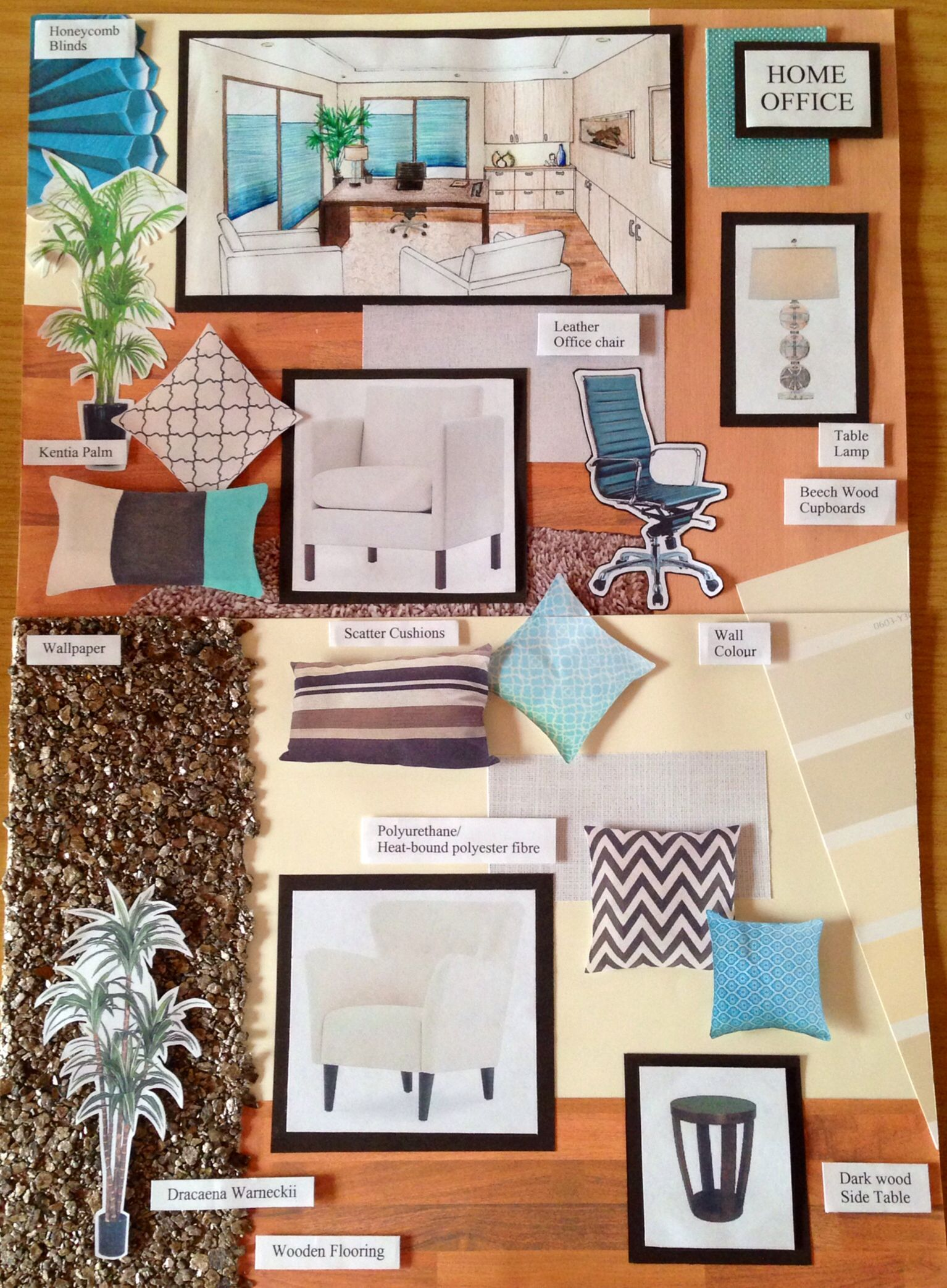 Home office sample board. Turquoise and cream | Interior ...