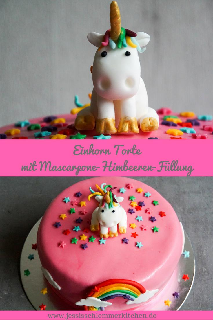 Einhorn Torte mit HimbeerMascarpone Fllung  Rezept