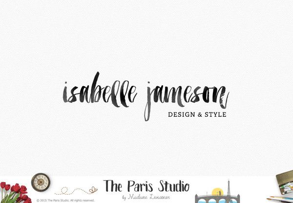 Typographic Ink Brush Logo Design for website logo, blog logo, business boutique branding design.