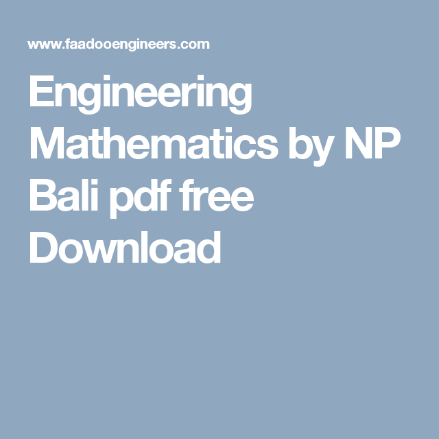 Engineering mathematics by np bali pdf free download engineering mathematics by np bali pdf free download faadooengineers pinterest pdf and students fandeluxe Images