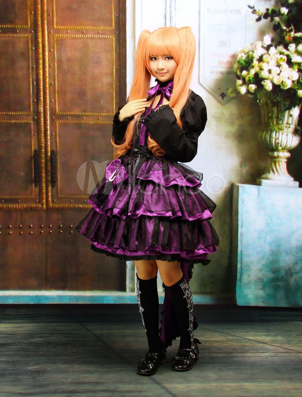 Steampunk - Multi-Layer Purple Cotton Long Sleeves Gothic Lolita Dress