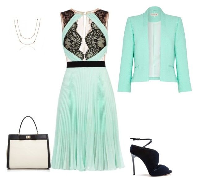 """Mint green"" by penelope1234567 ❤ liked on Polyvore featuring BCBGMAXAZRIA, Casadei, Annoushka, Kate Spade and Damsel in a Dress"