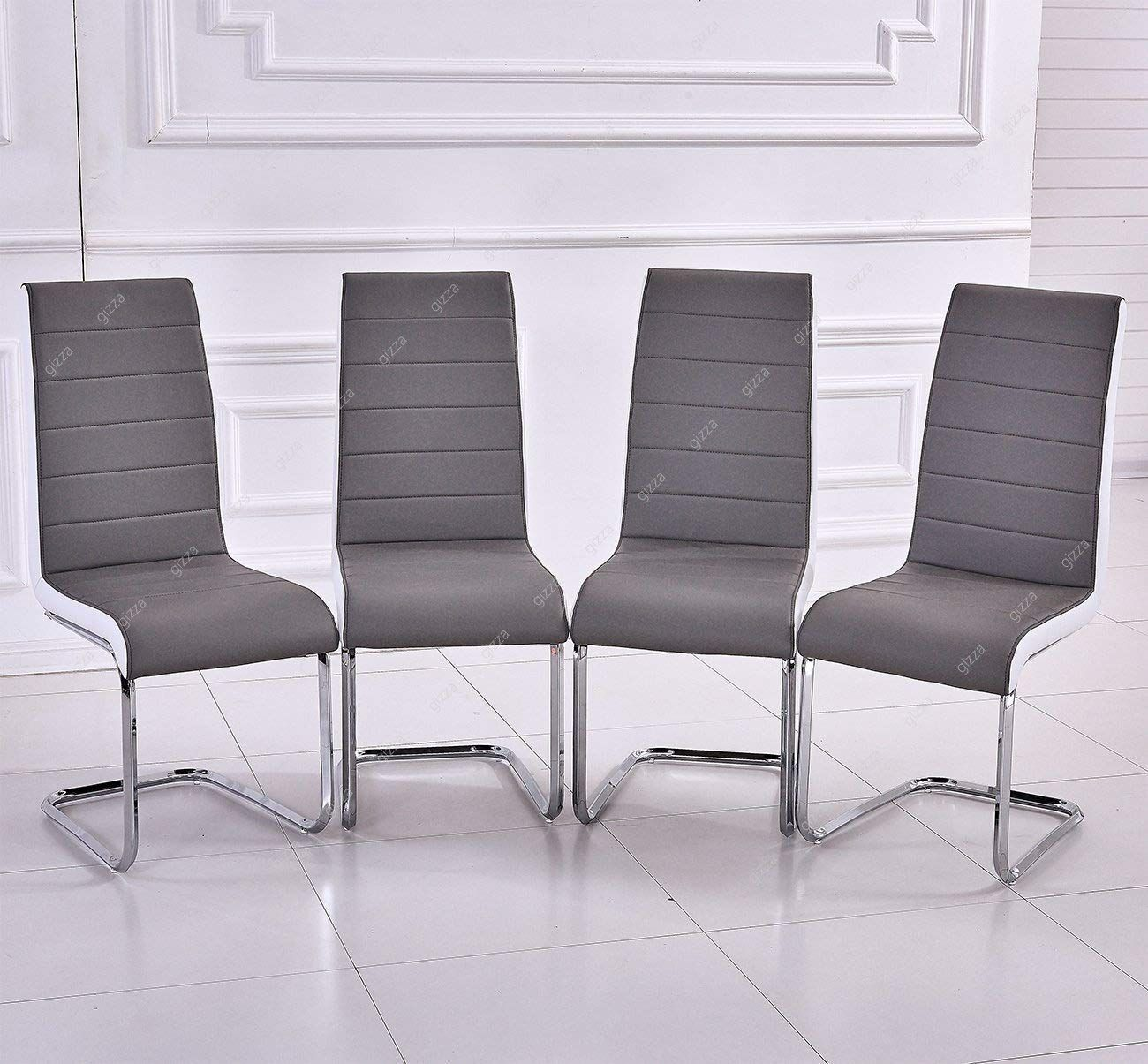GIZZA Gray White Sides Faux Leather Dining Room Chairs