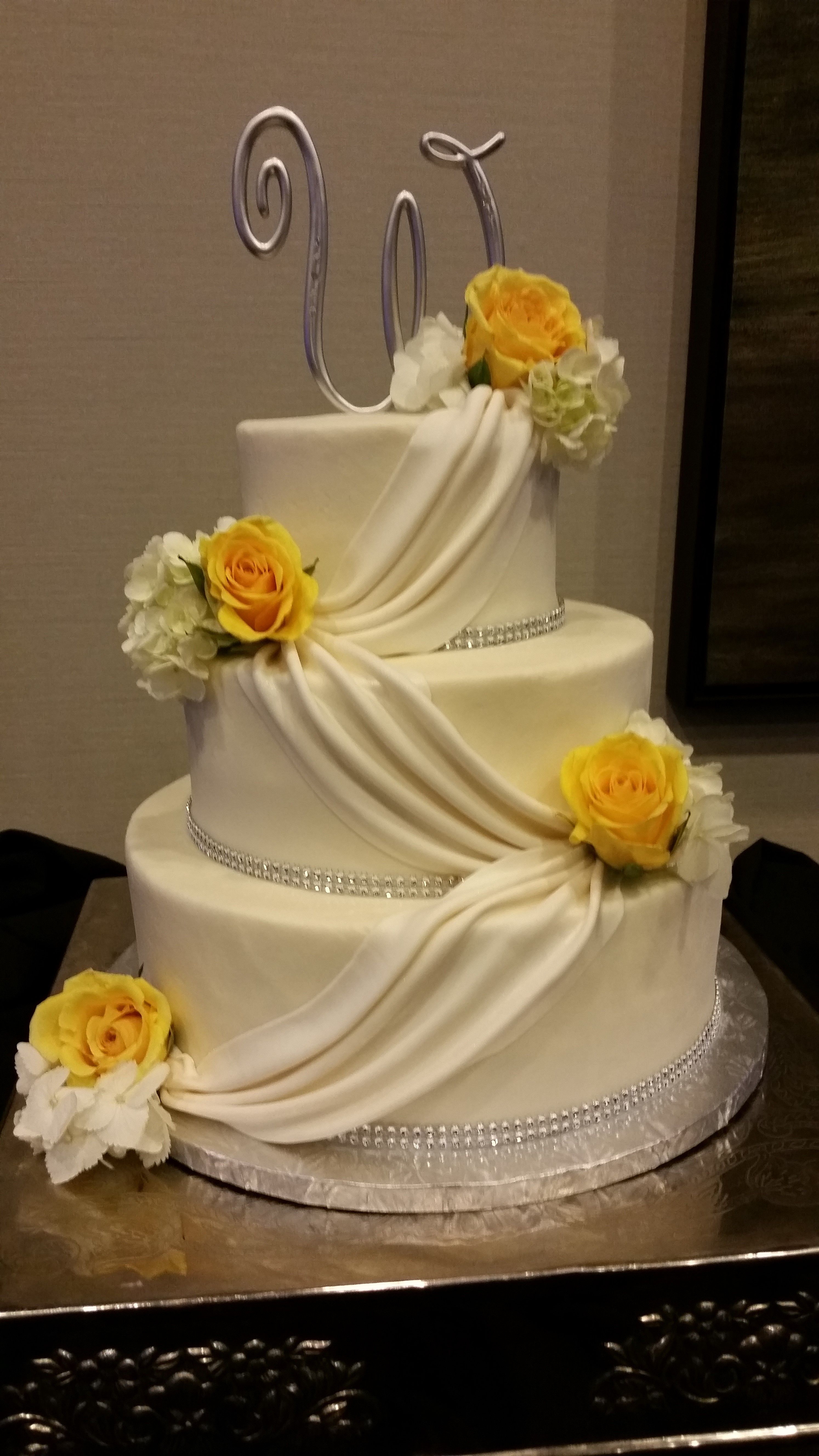 Buttercream With Fondant Swags. Wedding Cake By Confectionate Cakes, Raleigh  NC