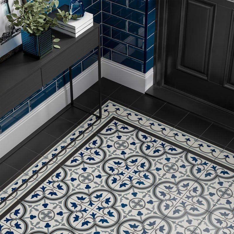 Maxi Metro Subway Midnight Blue Bevelled Gloss Wall Tile 100mm X 300mm Victorian Hallway Victorian Hallway Tiles Porch Tile