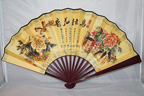 Large Beautiful Chinese Bamboo & Silk Hand Folding Fan, Wall Art ...