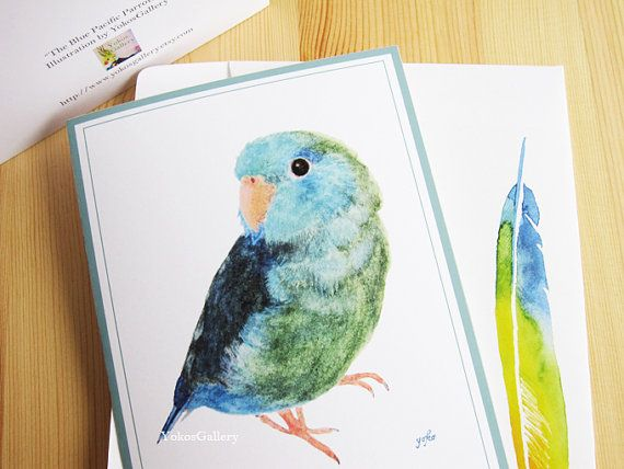 Birds Art Cards The Blue Pacific Parrotlet From An Original