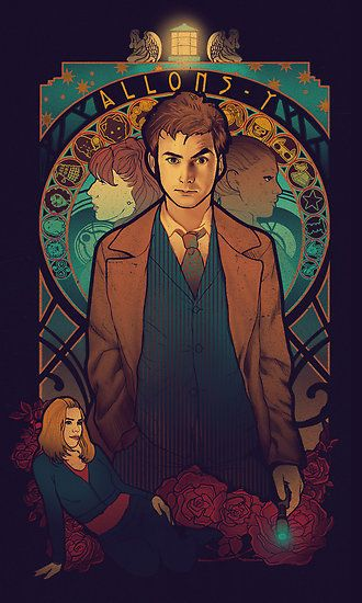 Allons-y by MeganLara - gorgeous Art Nouveau Doctor Who tees and prints by this artist (http://www.redbubble.com/people/m… | Doctor who, Doctor who art, 10th doctor